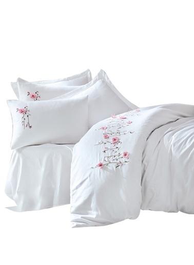 Cotton Box Pamuk Saten 3D Nakisli Çift Kisilik Nevresim Takımı Perla Beyaz Beyaz
